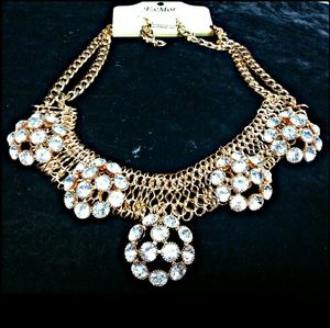 3/$30 Goldtone & Rhinestone Statement Necklace Set